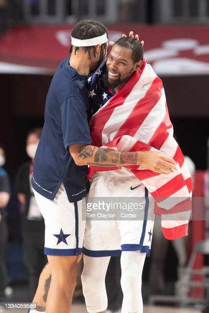 August 7 Kevin Durant of the United States celebrates with team mate Javale McGee of the United States after the teams gold medal victory during the...