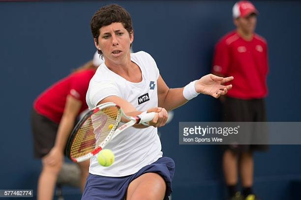 August 7th Tennis player Carla Suarez Navarro plays against Maria Sharapova in the second round at the Rogers Cup tournament at the Uniprix Stadium...