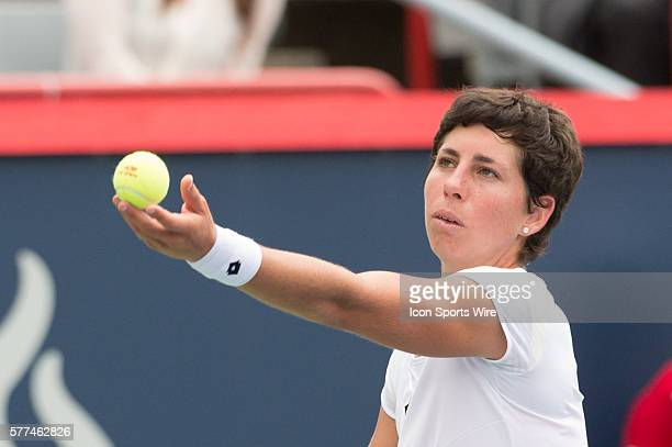 August 7th Tennis player Carla Suarez Navarro serves in match against Maria Sharapova in the second round at the Rogers Cup tournament at the Uniprix...