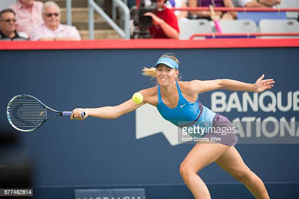 August 7th Tennis player Maria Sharapova plays against Carla Suarez Navarro in the second round at the Rogers Cup tournament at the Uniprix Stadium...