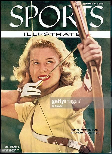 August 8 1955 Sports Illustrated Cover Archery Closeup portrait of Ann Marston Detroit MI 6/14/1955