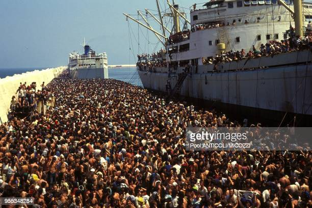 August 8th1991arrival in Bari of the Vlora with 10000 Albanian refugees