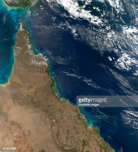August 9, 2011 - Satellite view of the Australian coast between the Great Barrier Reef and the Queensland shore.