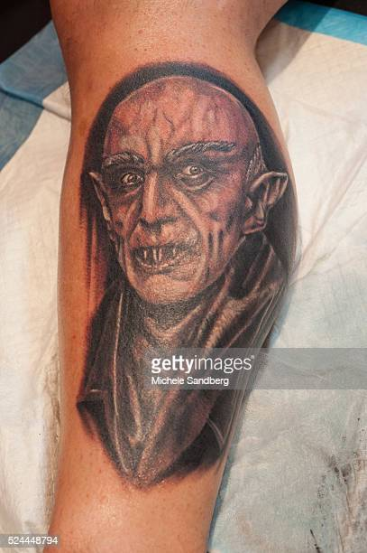 August 9 2015 Nosferatu tattoo on a mans leg from Timeless Craft Tattoo booth 20th Annual South Florida Tattoo Expo with all proceeds benefitting Joe...