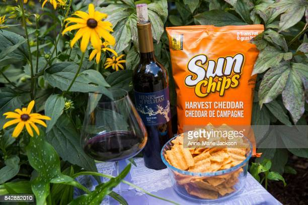 TORONTO ON August 9 2017 2016 Henry of Pelham Baco Noir Old Vines VQA Ontario and Harvest Cheddar Sun Chips For column by Carolyn Hammond on summer...