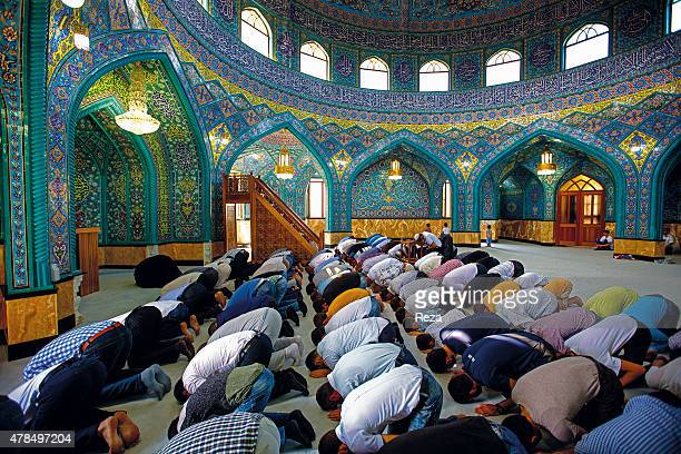 August 9 Mir Movsum Agha Sanctuary Shuvelan Baku Azerbaijan On the last day of Ramadan known as Eid alFitr Muslim men recite the special Islamic...