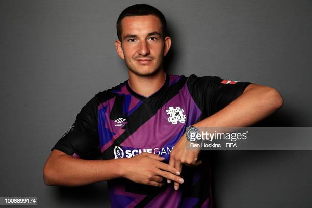 August 'Agge' Rosenmeier of Denamrk poses for a portrait ahead of the FIFA eWorld Cup Grand Final 2018 at The O2 Arena on August 1 2018 in London...