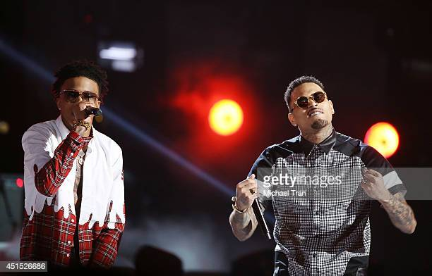 August Alsina and Chris Brown perform onstage during the 'BET AWARDS' 14 held at Nokia Theater LA LIVE on June 29 2014 in Los Angeles California