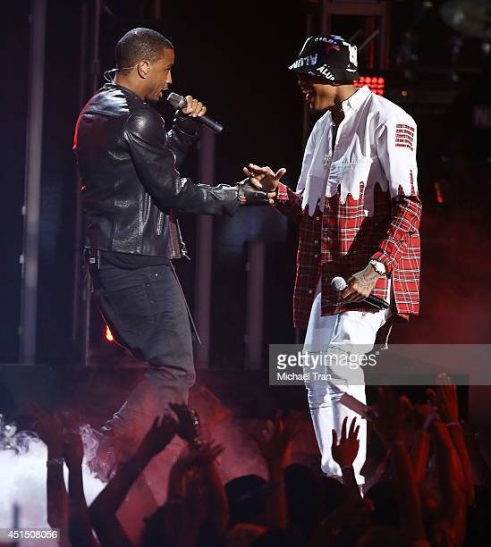 August Alsina and Trey Songz perform onstage during the 'BET AWARDS' 14 held at Nokia Theater LA LIVE on June 29 2014 in Los Angeles California