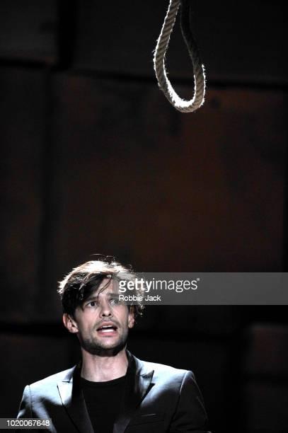 Benjamin Purkiss as Macheath in Theatre des Bouffes du Nord's production of Ian Burton and Robert Carsen's adaptation of John Gay's The Beggar's...