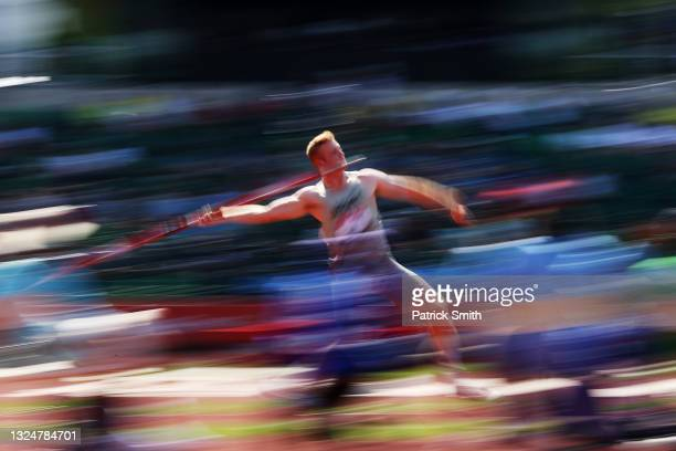 August Cook competes in the Men's Javelin Throw Final during day four of the 2020 U.S. Olympic Track & Field Team Trials at Hayward Field on June 21,...
