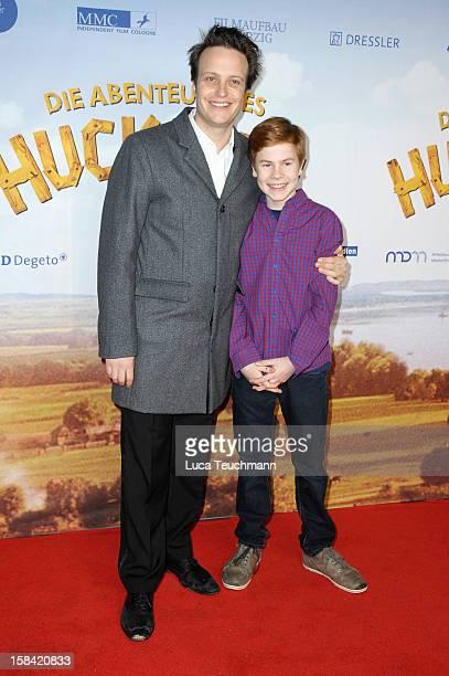 August Diehl and Leon Seidel attend 'Tom Sawyer Huckleberry Finn' Germany Premiere at Kino in der KulturBrauerei on December 16 2012 in Berlin Germany