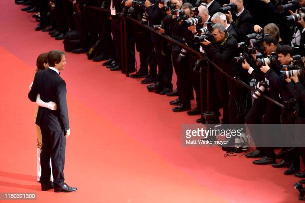 August Diehl and Valerie Pachner attend the screening of A Hidden Life during the 72nd annual Cannes Film Festival on May 19 2019 in Cannes France