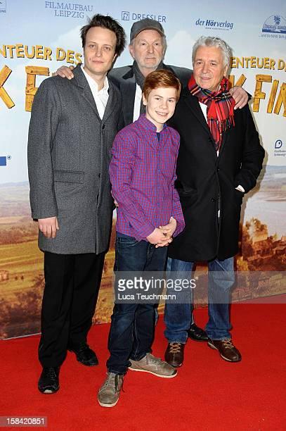 August Diehl Michael Gwisdek Leon Seidel and Henry Huebchen attend 'Tom Sawyer Huckleberry Finn' Germany Premiere at Kino in der KulturBrauerei on...