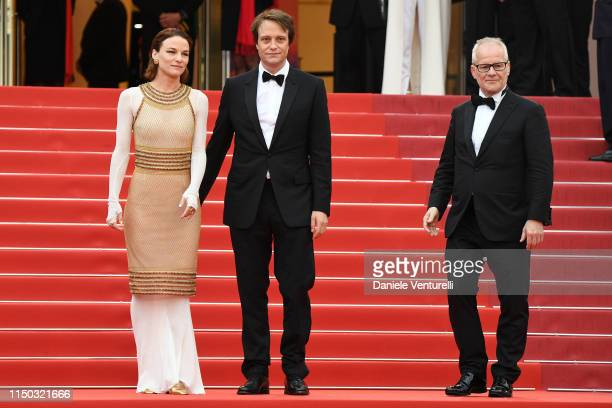 August Diehl Valerie Pachner and General Delegate Thierry Fremaux attend the screening of A Hidden Life during the 72nd annual Cannes Film Festival...