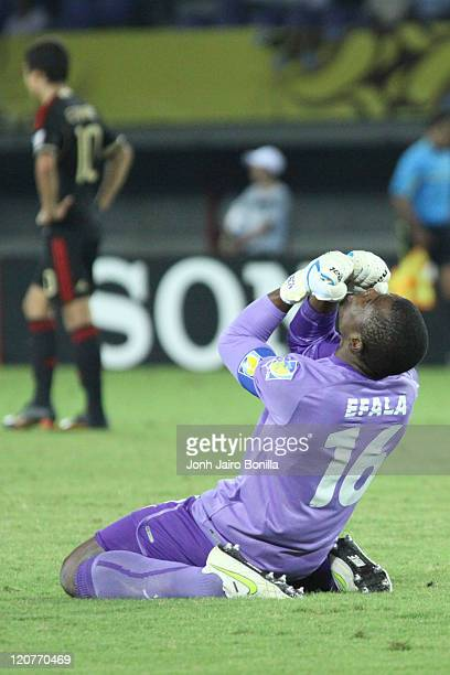 Efala from Cameroon celebrates a goal against Mexico during a second round match between Cameroon and Mexico as part of the FIFA U20 at the Hernán...