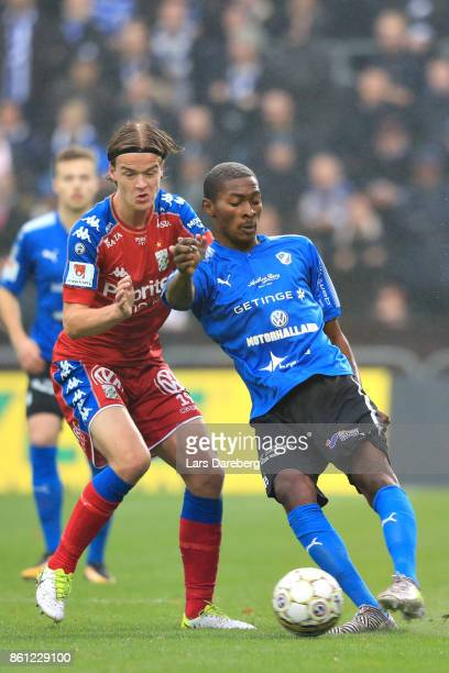 August Erlingmark of IFK Goteborg and Aboubakar Keita of Halmstad BK during the allsvenskan match between Halmstad BK and IFK Goteborg at Orjans Vall...