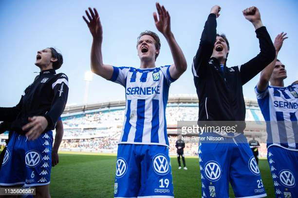 August Erlingmark of IFK Goteborg celebrates after the victory during the Allsvenskan match between IFK Goteborg and IF Elfsborg at Ullevi on April 7...