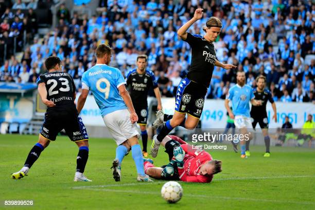 August Erlingmark of IFK Goteborg during the Allsvenskan match between Malmo FF and IFK Goteborg at Swedbank Stadion on August 27 2017 in Malmo Sweden