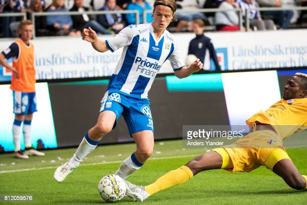 August Erlingmark of IFK Goteborg fight for the ball with Aboubakar Keita of Halmstad BK during the Allsvenskan match between IFK Goteborg and...