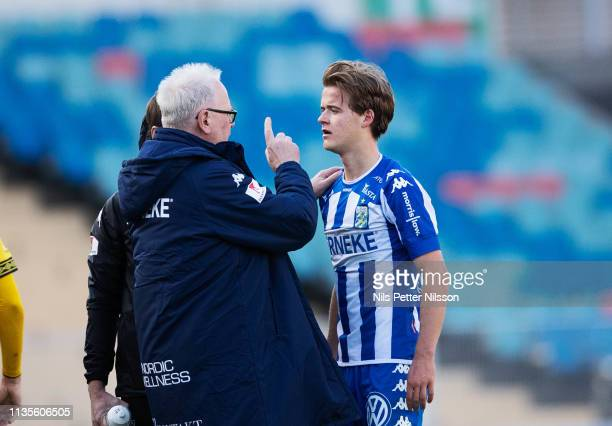 August Erlingmark of IFK Goteborg is getting medical attention during the Allsvenskan match between IFK Goteborg and IF Elfsborg at Ullevi on April 7...