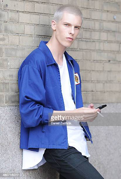 August Gonet is seen outside the Duckie Brown show wearing a vintage jacket and Levis jeans during New York Fashion Week Men's S/S 2016 at Skylight...