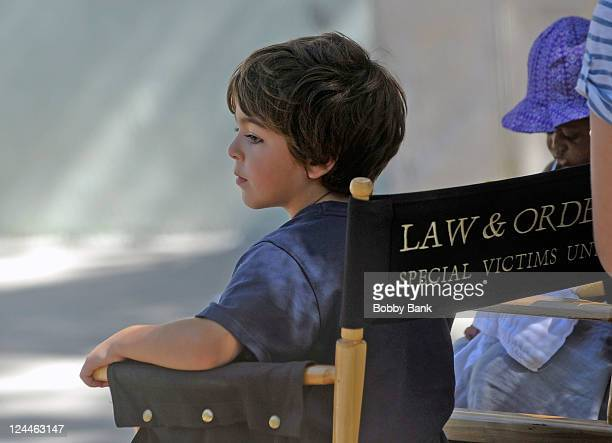 August Hermann and his sister Amaya Josephine Hermann on location for 'Law Order SVU' on September 9 2011 on the Streets of Manhattan in New York City