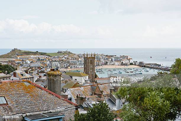 august in cornwall - view of st ives and harbour from viewpoint - st ives stock pictures, royalty-free photos & images