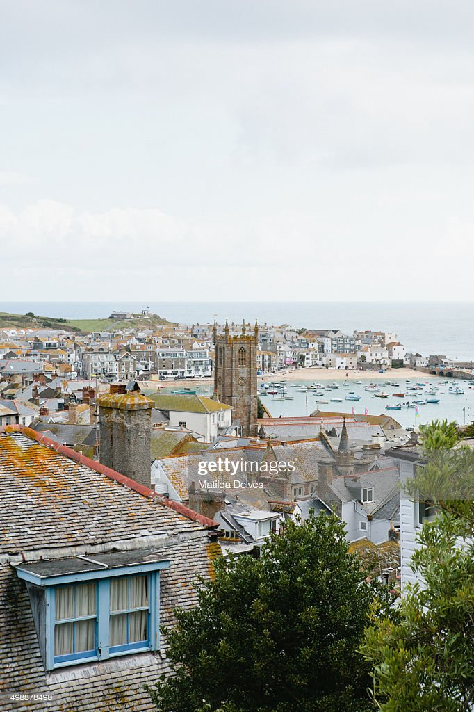 August in Cornwall - view of St Ives and harbour from viewpoint : Stock Photo