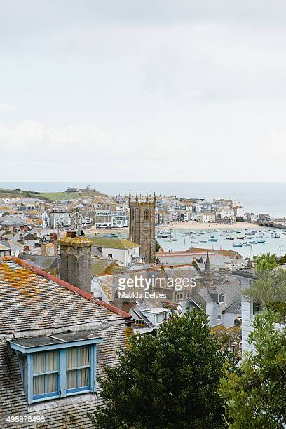August in Cornwall - view of St Ives and harbour from viewpoint