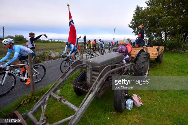 August Jensen of Norway and Team Israel Cycling Academy / Pascal Eenkhoorn of The Netherlands and Team Jumbo - Visma / Public / Fans / Landscape /...