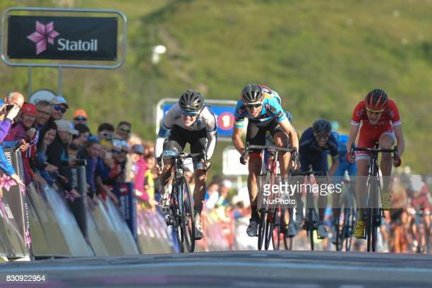 August Jensen of Norway riding for Team CoopOster Hus and Dylan Teuns of Belgium from BMC Racing Team wins the third stage the 1855km from Lyngseidet...