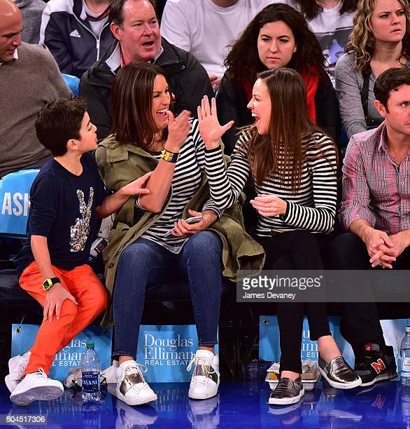 August Miklos Friedrich Hermann Mariska Hargitay and Hilary Swank attend the Milwaukee Bucks Vs New York Knicks game at Madison Square Garden on...