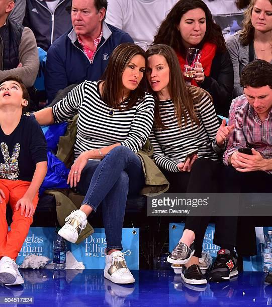 August Miklos Friedrich Hermann Mariska Hargitay and Hilary Swank attend the Milwaukee Bucks Vs New York Knicks game at Madison Square Garden on...