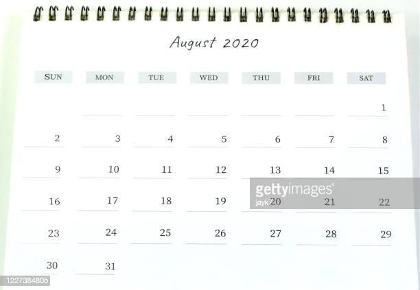 august month calendar 2020 - august stock pictures, royalty-free photos & images
