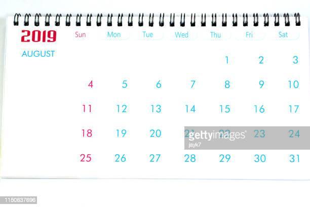 august month calendar - agosto foto e immagini stock