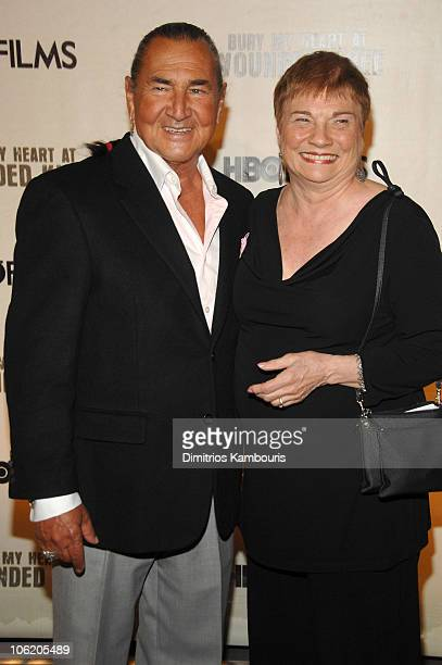 August Schellenberg and guest during HBO Films' Bury My Heart at Wounded Knee Arrivals at American Museum of Natural History in New York City New...