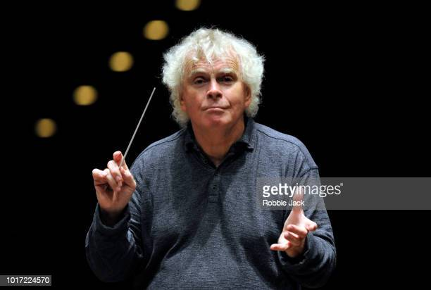 Sir Simon Rattle conducts the LSO playing Mahler Symphony No9 at The Usher Hall as part of the Edinburgh International Festival 2018 on August 11...