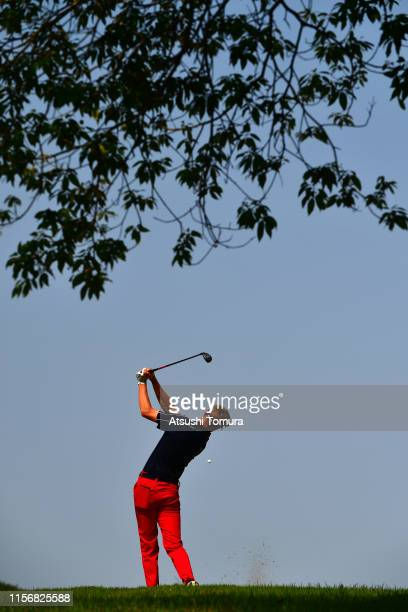 August Thor Host of Denmark hits his tee shot on the 11th hole during the second round of the Toyota Junior Golf World Cup at Chukyo Golf Club Ishino...