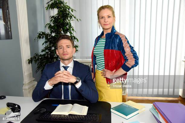 August Wittgenstein and Birte Hanusrichter during 'Jenny Echt gerecht' RTL TV series Set Visit In Berlin on July 13 2017 in Berlin Germany