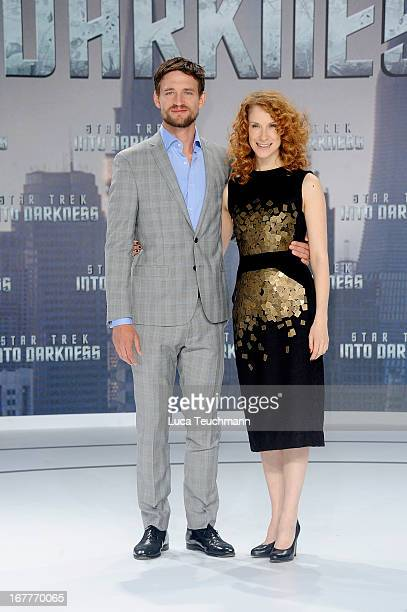August Wittgenstein and Chiara Schoras attend the 'Star Trek Into Darkness' German Premiere at CineStar on April 29 2013 in Berlin Germany