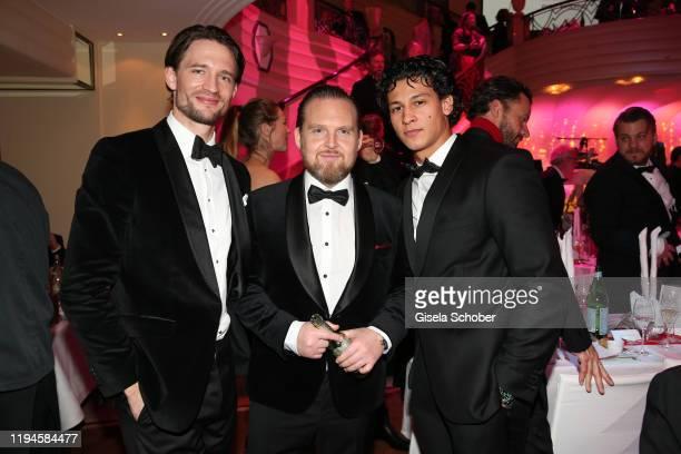 August Wittgenstein, Axel Stein, Emilio Sakraya during the 47th German Film Ball party at Hotel Bayerischer Hof on January 18, 2020 in Munich,...