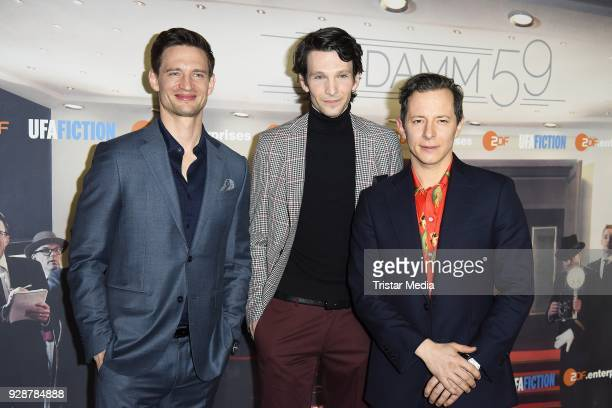 August Wittgenstein Sabin Tambrea and Trystan Puetter during the premiere of 'Ku'damm 59' at Cinema Paris on March 7 2018 in Berlin Germany
