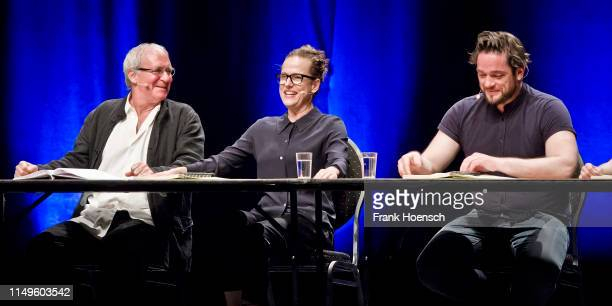 August Zirner Claudia Michelsen and Ronald Zehrfeld perform live on stage during a reading 'Die Unmoeglichen' at the Admiralspalast on June 12 2019...