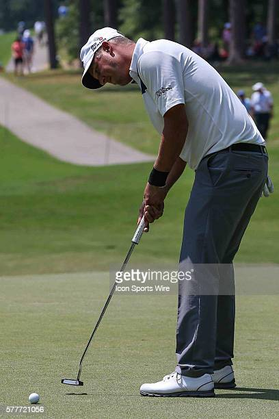 Fredrik Jacobson during third round action at the Wyndham Golf Championship at Sedgefield Country Club in Greensboro, NC.