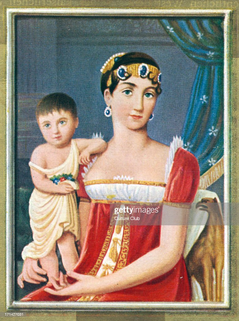 Augusta Amalia de Beauharnais, Duchess of Leuchtenberg, with her daughter Josephine Beauharnais, future Queen of Sweden and Norway. After a miniature by Giovanni Battista Gigola, 1809. : News Photo