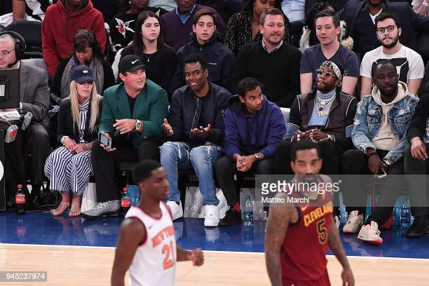 Augusta Masters Champion Patrick Reed Chris Rock Aziz Ansari and rapper 2 Chainz attend the game between the Cleveland Cavaliers and the New York...
