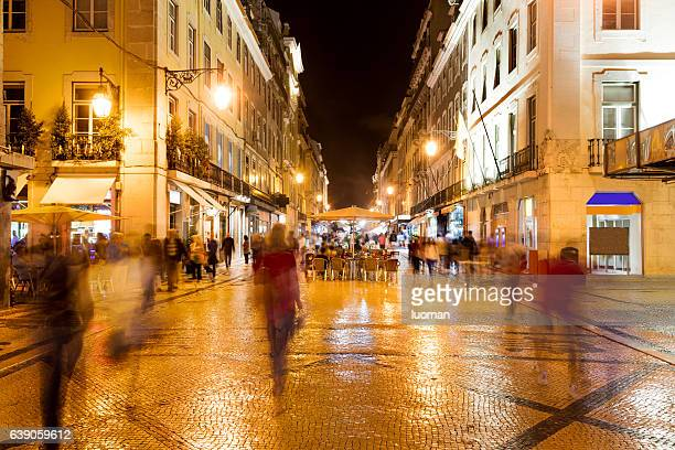 augusta street in lisbon - nightlife stock pictures, royalty-free photos & images