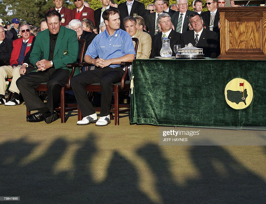 Masters Tournament winner Zach Johnson of the US sits next to last ...
