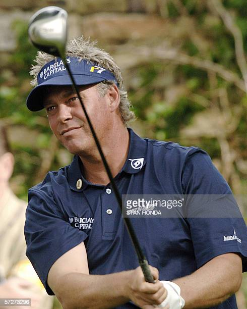 Darren Clarke of Northern Ireland tees off on the second hole 07 April during the second round for the 2006 Masters at Augusta National Golf Club in...